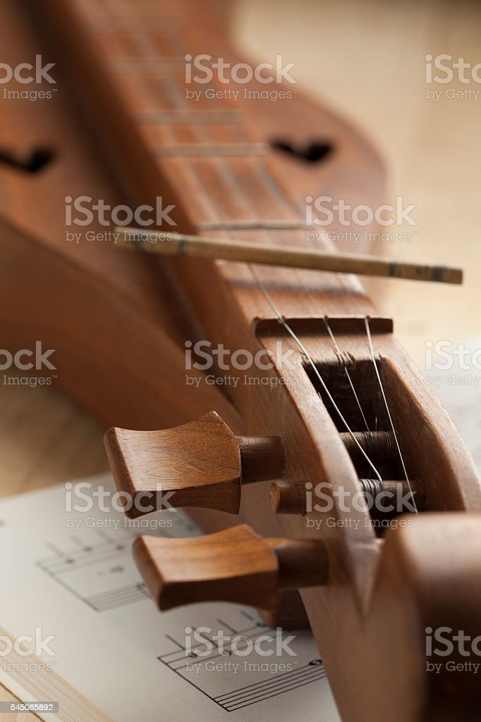 Appalachian dulcimer close up stock photo