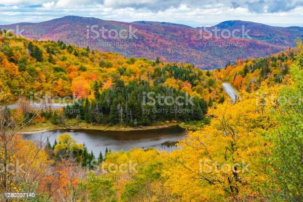 Photo of Appalachian Gap in bright colored fall foliage