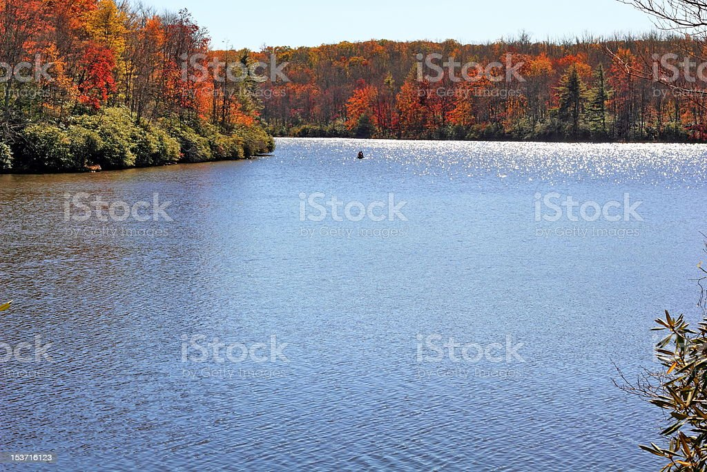 Appalachian Lake Surronded on Fall Foilage royalty-free stock photo
