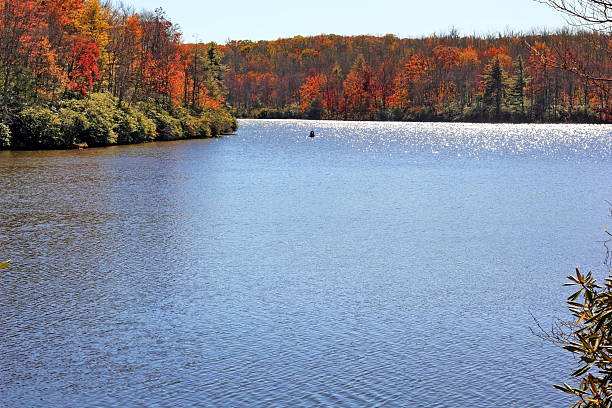 Appalachian Lake Surronded on Fall Foilage stock photo