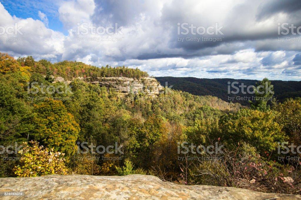 Appalachian Mountain Autumn Overlook View From Natural Bridge State Park In Kentucky stock photo