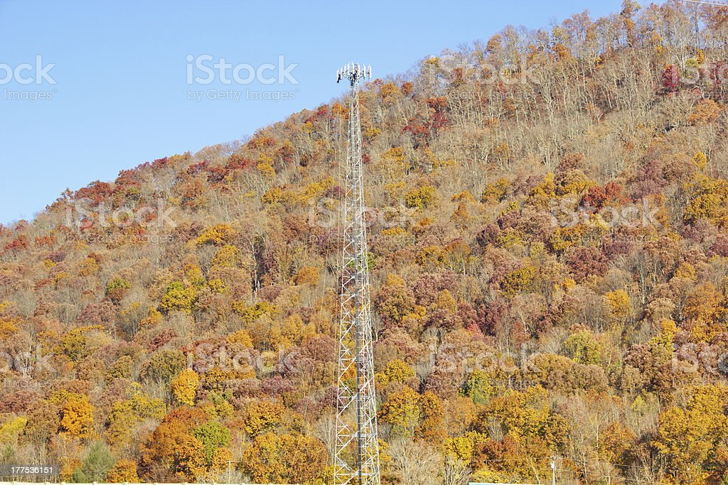 Appalachian Mountain Cell Communication Tower Installation royalty-free stock photo