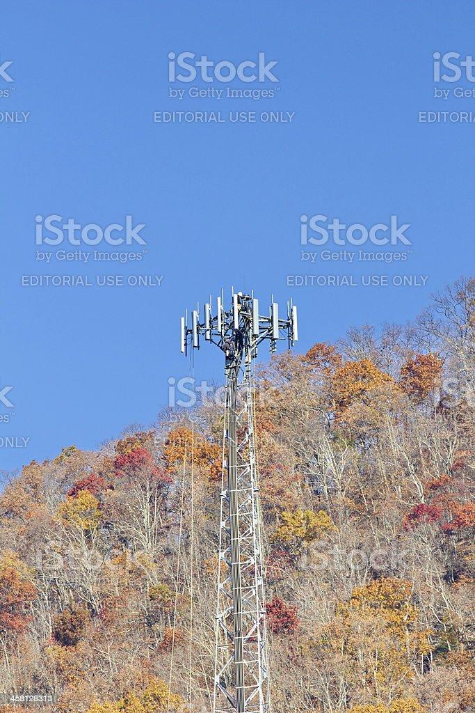 Appalachian Mountain Cell Communication Tower Installation stock photo