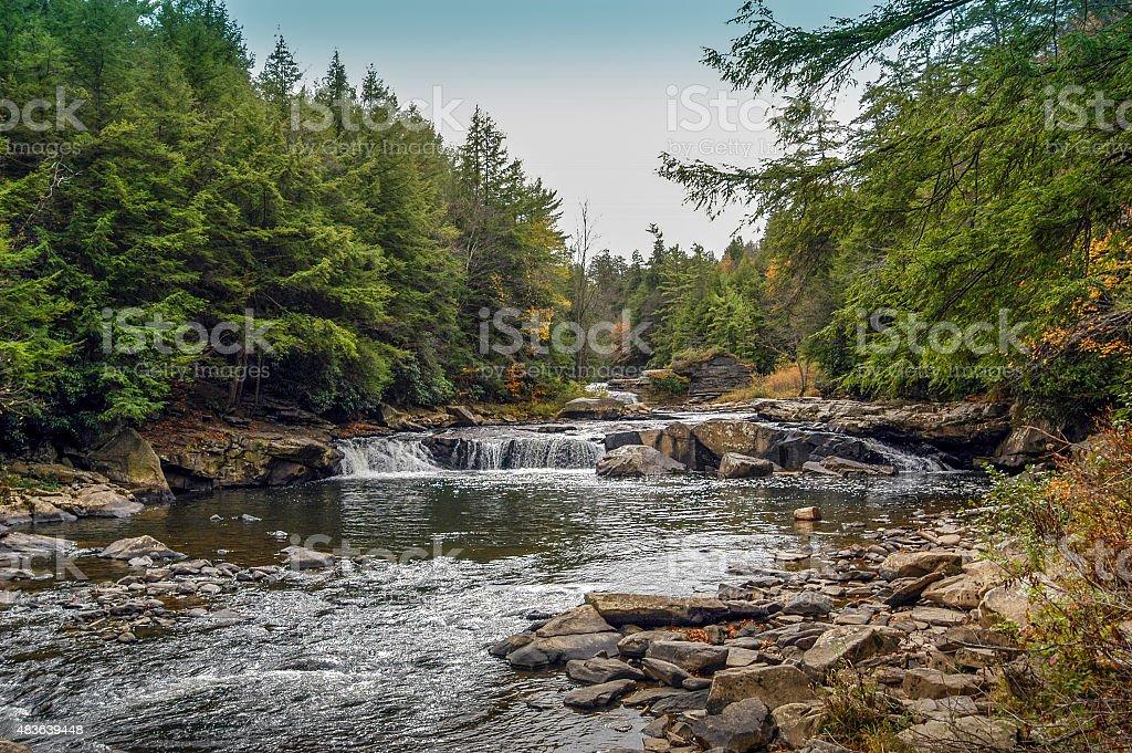 Appalachian mountain river in Autumn stock photo