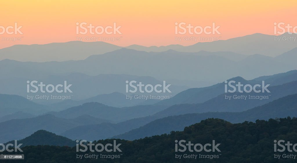 Appalachian Mountains at Dusk stock photo