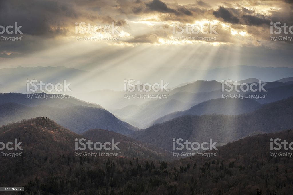Appalachian Mountains Crepuscular Light Rays on Blue Ridge Parkway Ridges stock photo