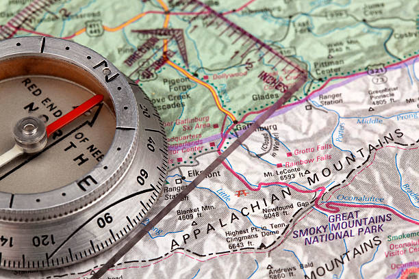 Appalachian mountains map Appalachian  mountains map and compass background appalachian trail stock pictures, royalty-free photos & images