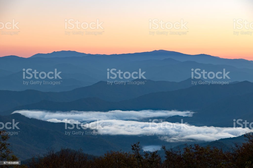 Appalachian mountains with morning clouds in the valley stock photo