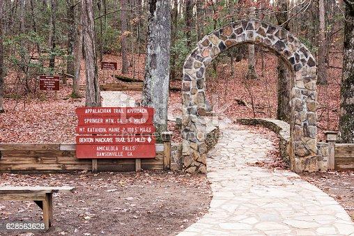 Appalachian trail approach sign at Amicalola Falls state park in Dawsonville Georgia.