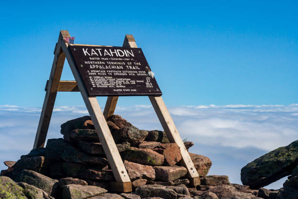 Appalachian Trail Sign, Katahdin, Baxter State Park, Maine A large wooden sign on the summit of Katahdin in Baxter State Park, Maine, marking the northern terminus of the Appalachian Trail. appalachian trail stock pictures, royalty-free photos & images