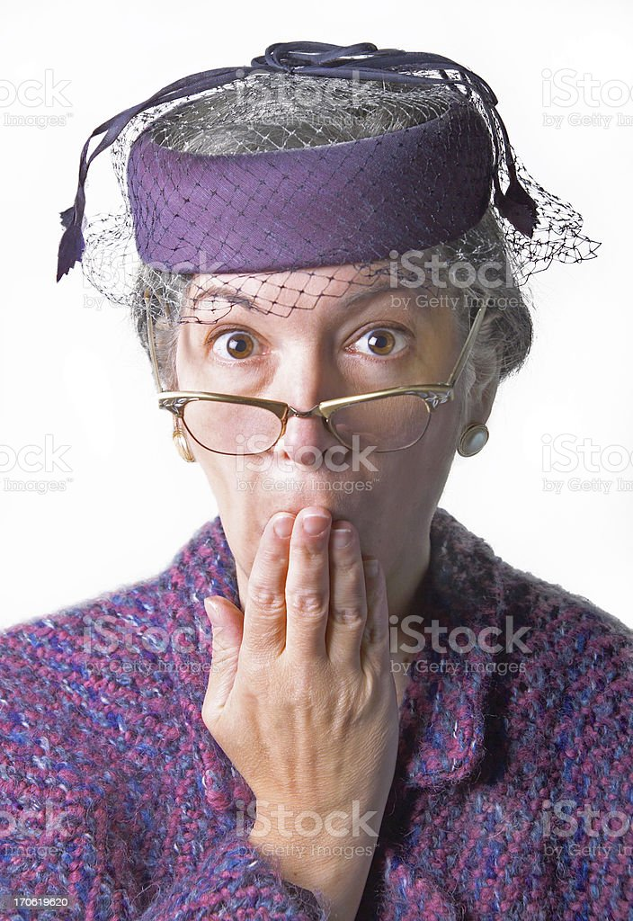 appalled old lady stock photo