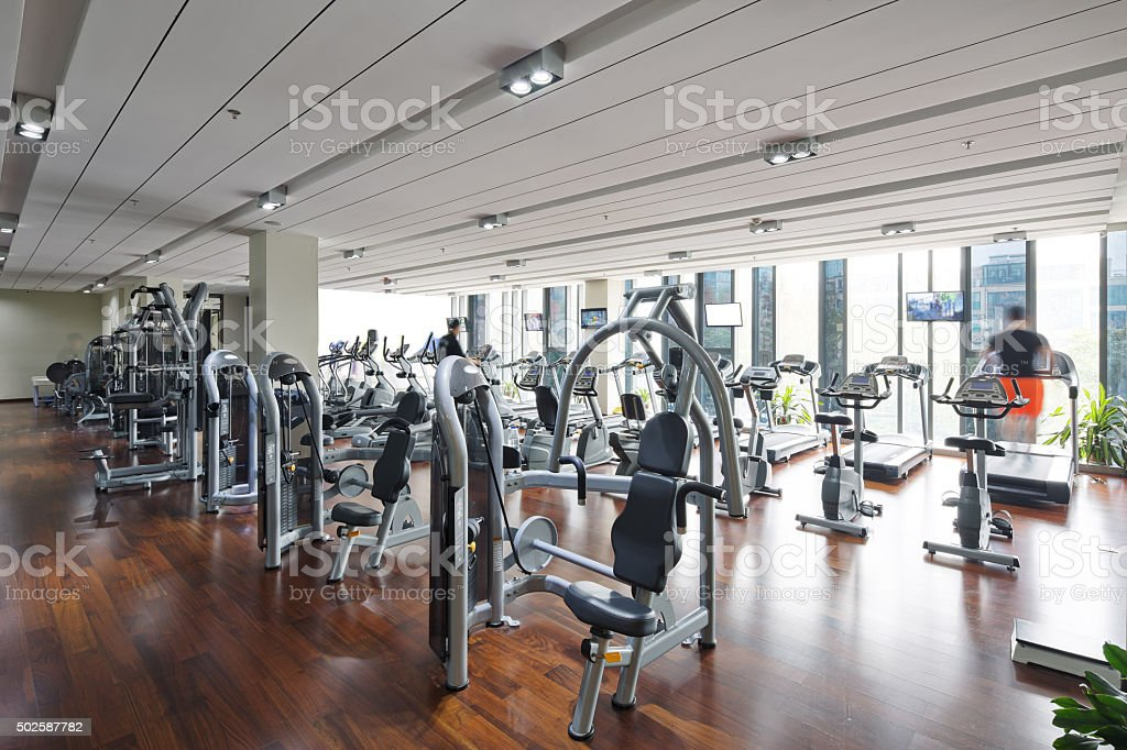 apparatus and equipment in modern gym stock photo