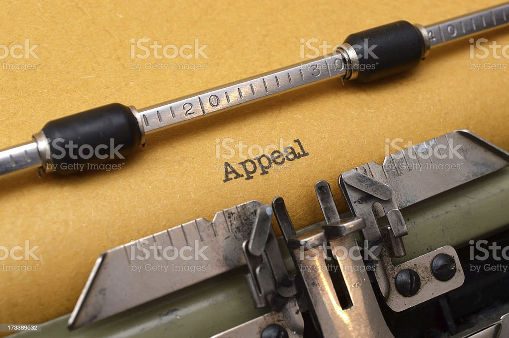 Appeal text on typewriter royalty-free stock photo