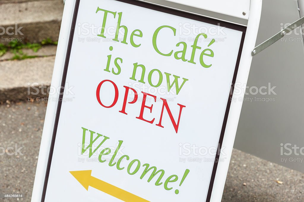 Appealing Welcome Sign Outside An Outdoor Cafe Stock Photo Download Image Now Istock