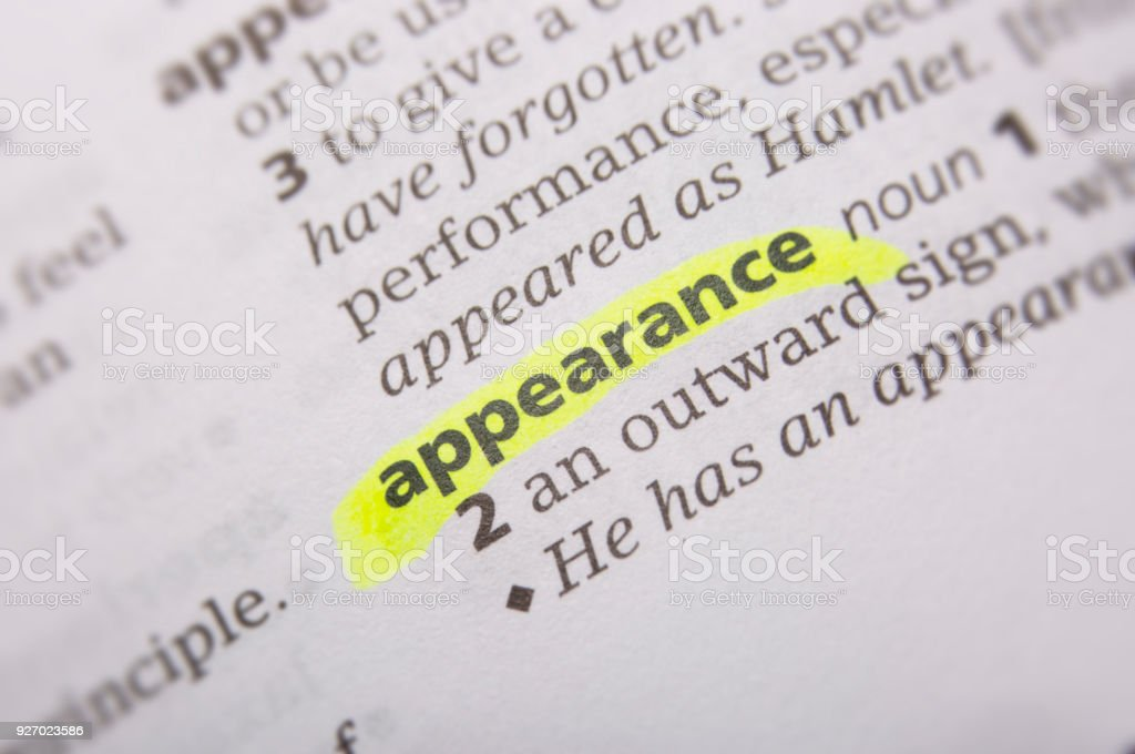 Appearance Defined In The English Dictionary Stock Photo - Download