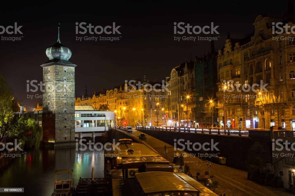 CZECH REPUBLIC, PRAGUE - OCTOBER 02, 2017: Appearance of a wonderful European city. Ostop tower with spiers stock photo