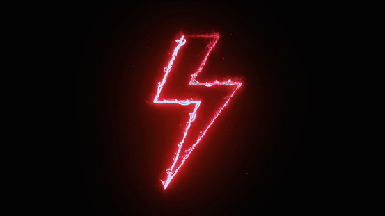 Appearance of lightning shape from fire on dark background.Electricity Power shape.