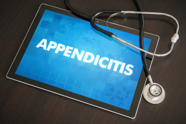 Appendicitis (gastrointestinal disease related) diagnosis medical concept on tablet screen with stethoscope stock photo