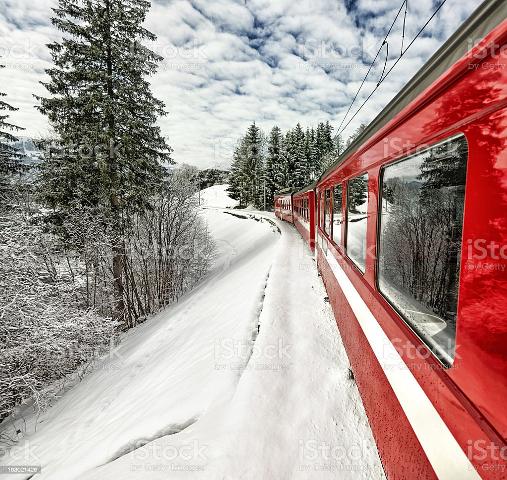 Appenzeller Bahnen red train in beautiful Swiss winter view stock photo