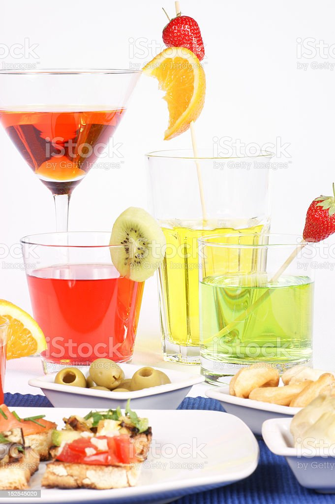 Appetizer and colored aperitif drinks royalty-free stock photo