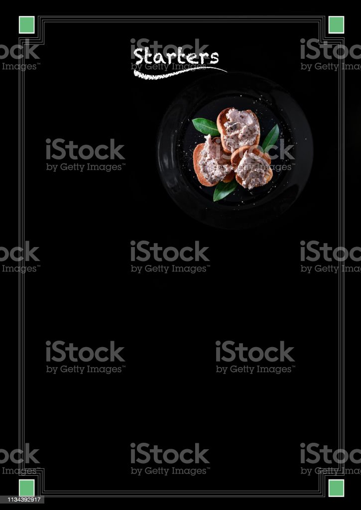 Appetizer Menu Blackboard Poster stock photo
