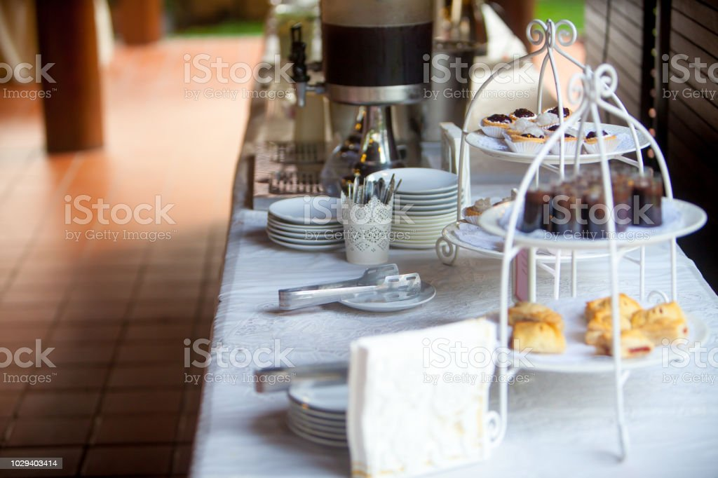 Appetizer Mini Cakes Of Cocktail Wedding Party Stock Photo