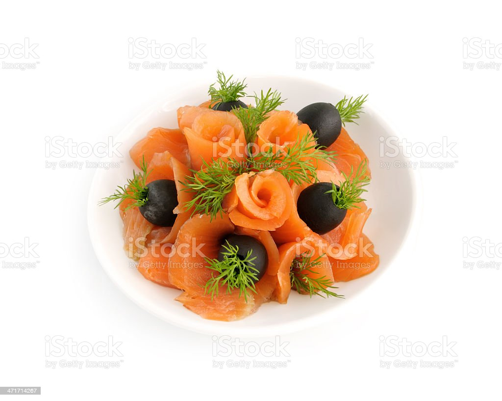 Appetizer of salmon with fennel and olives royalty-free stock photo