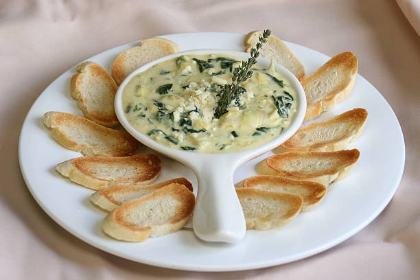 Appetizer - Spinach Dip Spinach and Artichoke Dip dipping sauce stock pictures, royalty-free photos & images