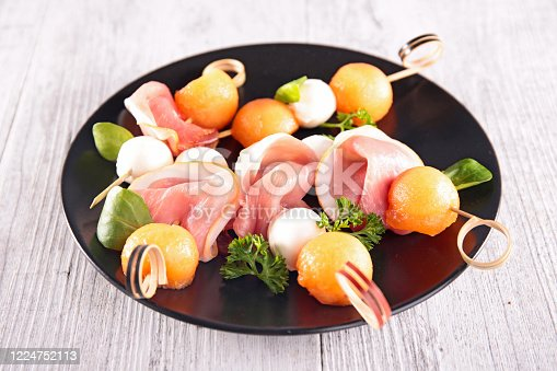 appetizer with melon, mozzarella and prosciutto ham