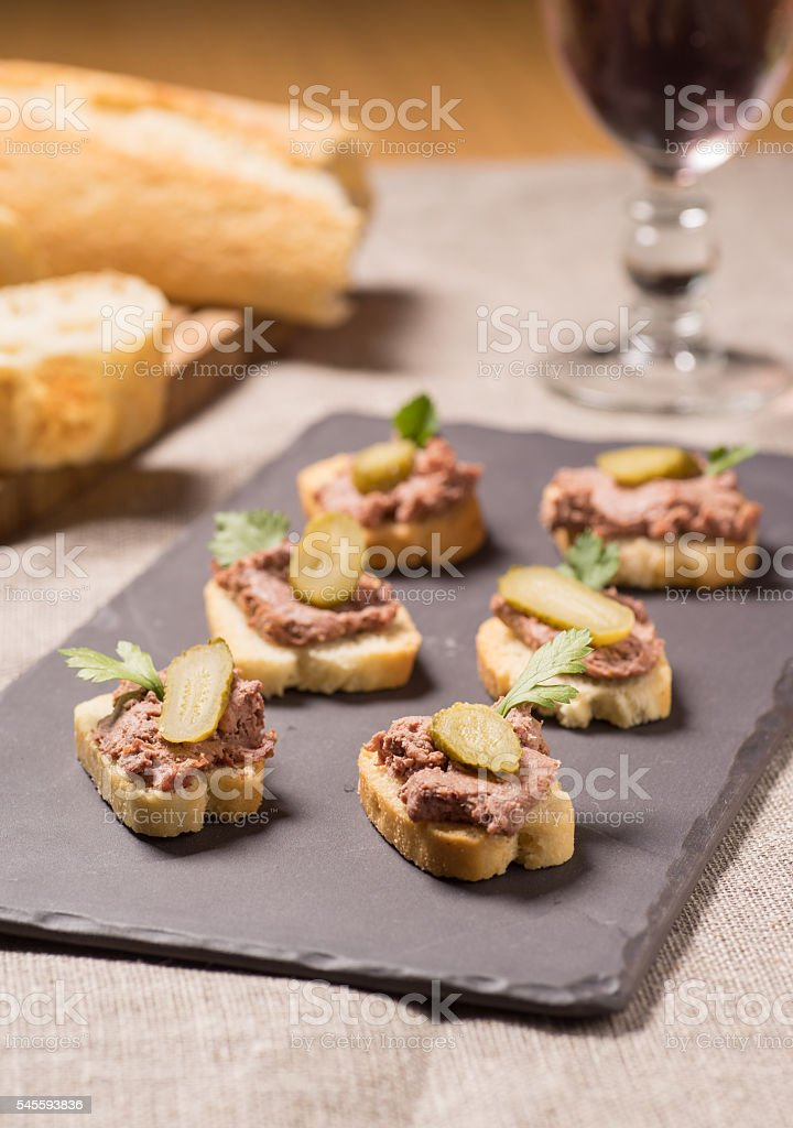 Appetizer with pate stock photo