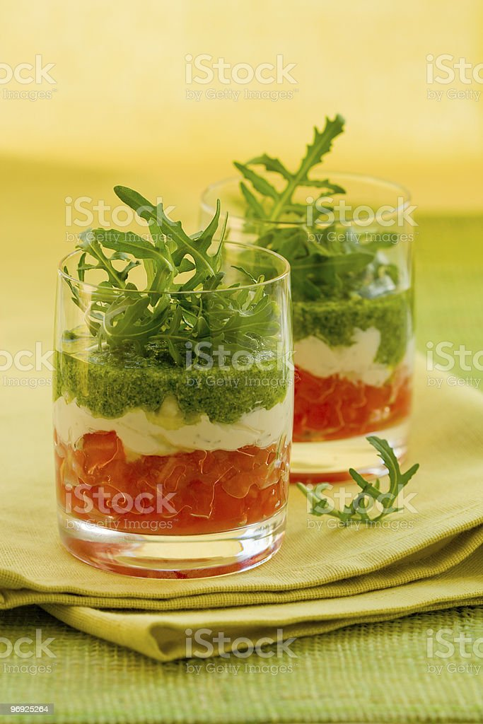 appetizer with tomato,cheese and pesto royalty-free stock photo