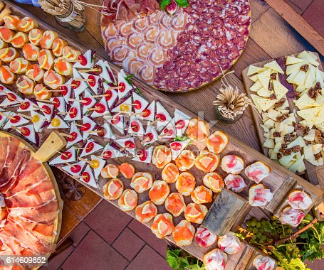 istock Appetizers arrangement on the table 614609852