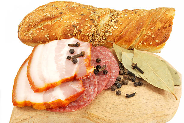 appetizers of smoked meat and bread stock photo