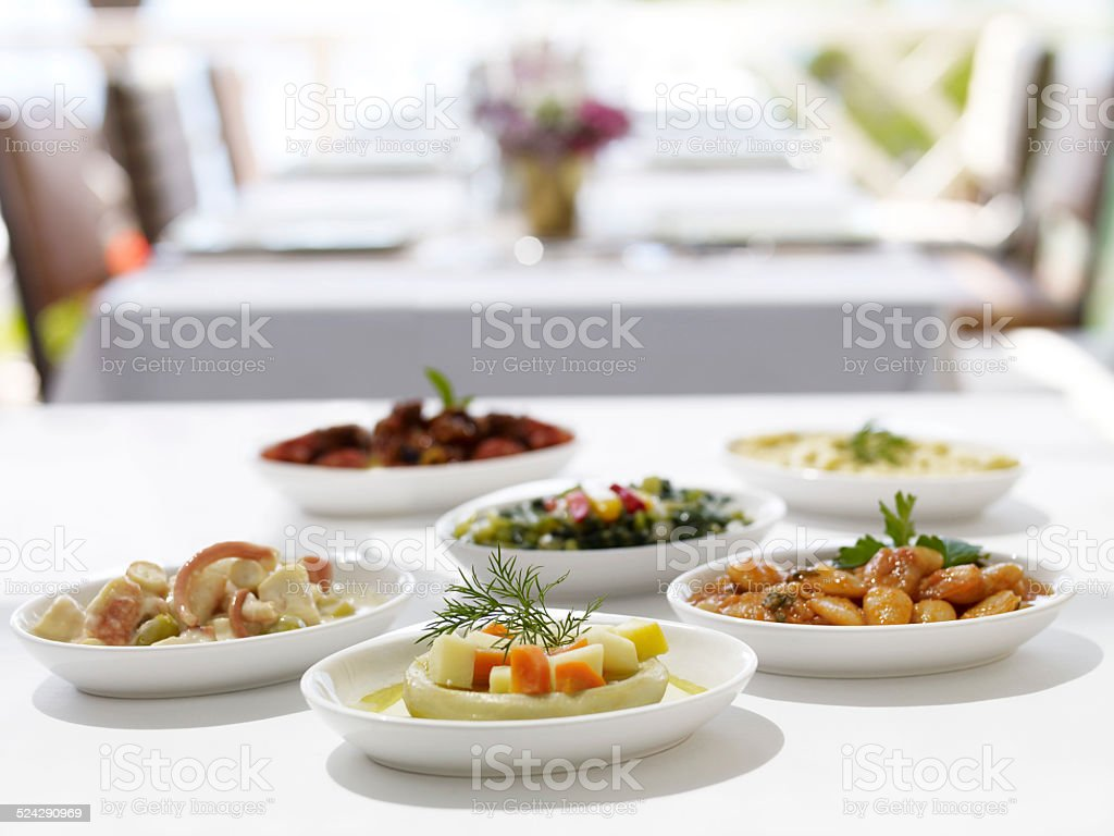 appetizers on table stock photo