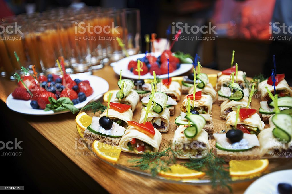 Appetizers salads and bread royalty-free stock photo