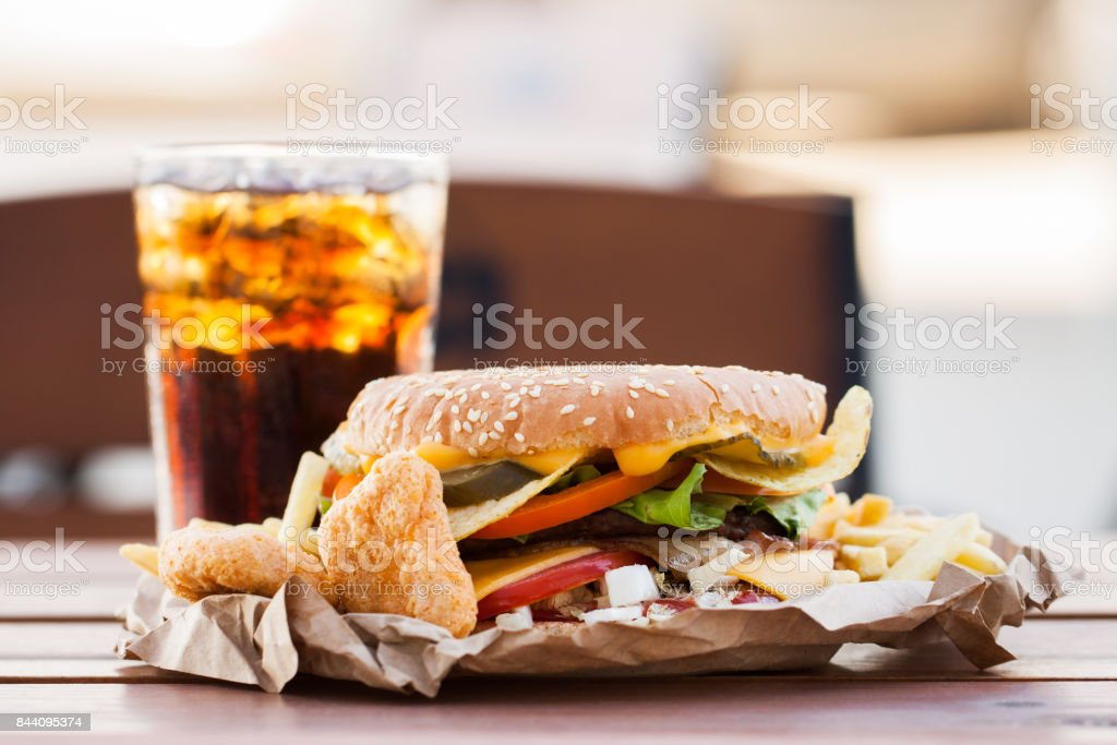 Appetizing burger and cold drink stock photo