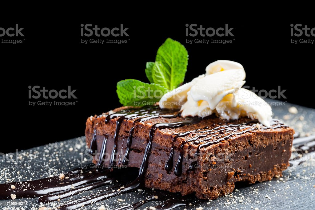 Appetizing chocolate brownie. stock photo