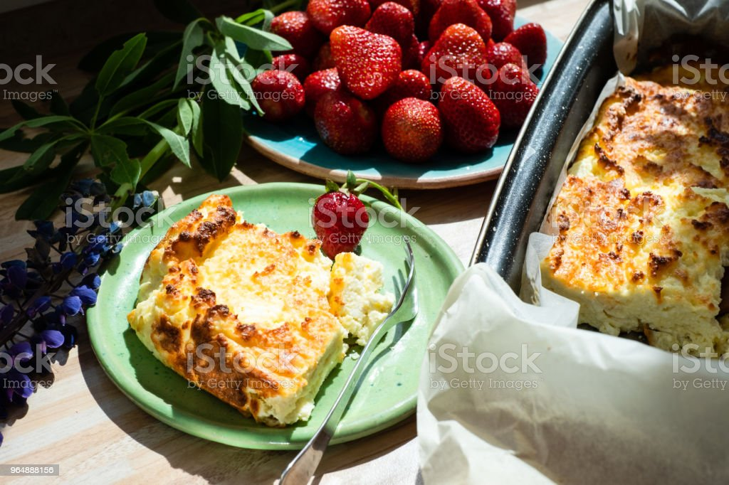 Appetizing cottage cheese casserole royalty-free stock photo
