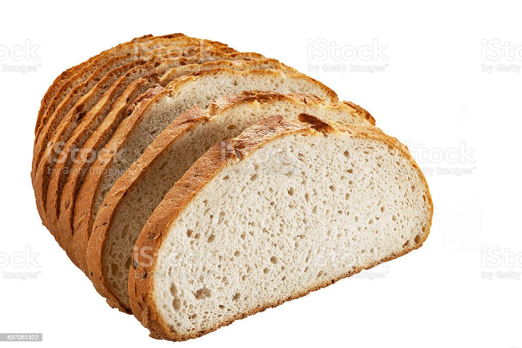 Appetizing crunchy crust bread isolated on white background. stock photo