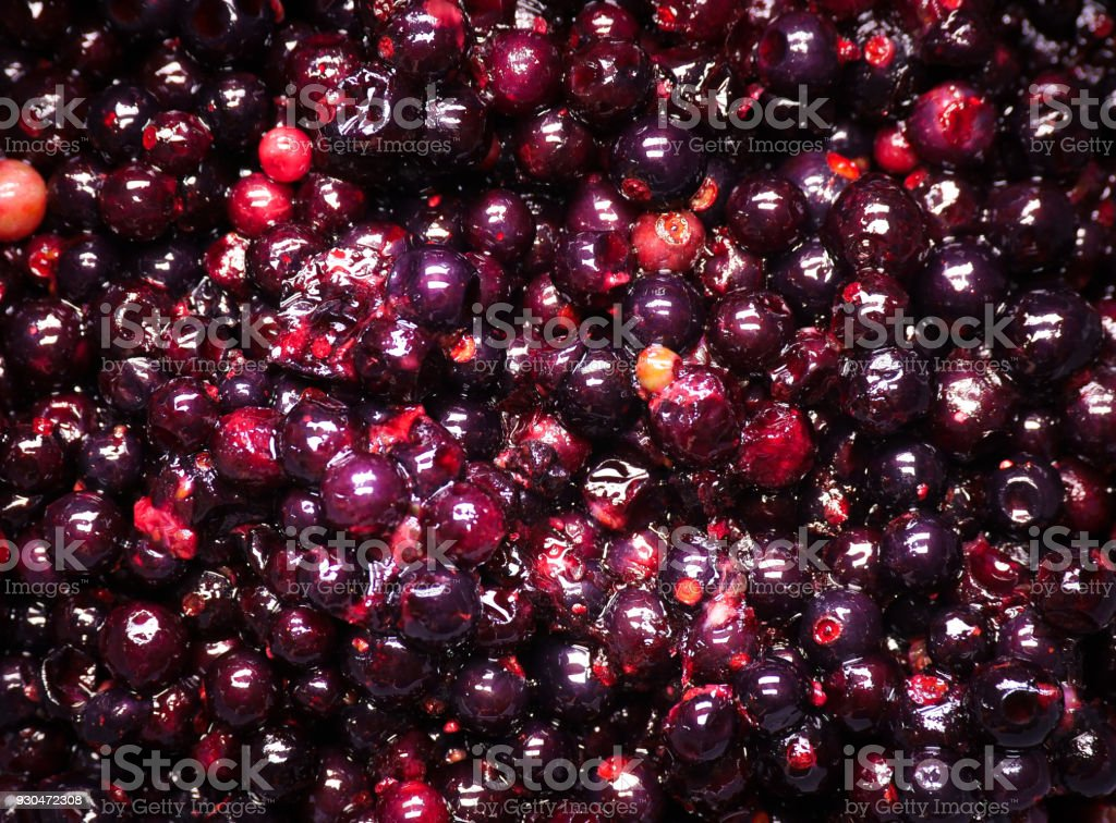 appetizing frozen currant closeup stock photo