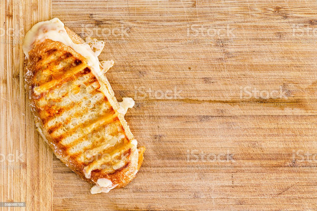 Appetizing grilled panini bread cheese sandwich stock photo