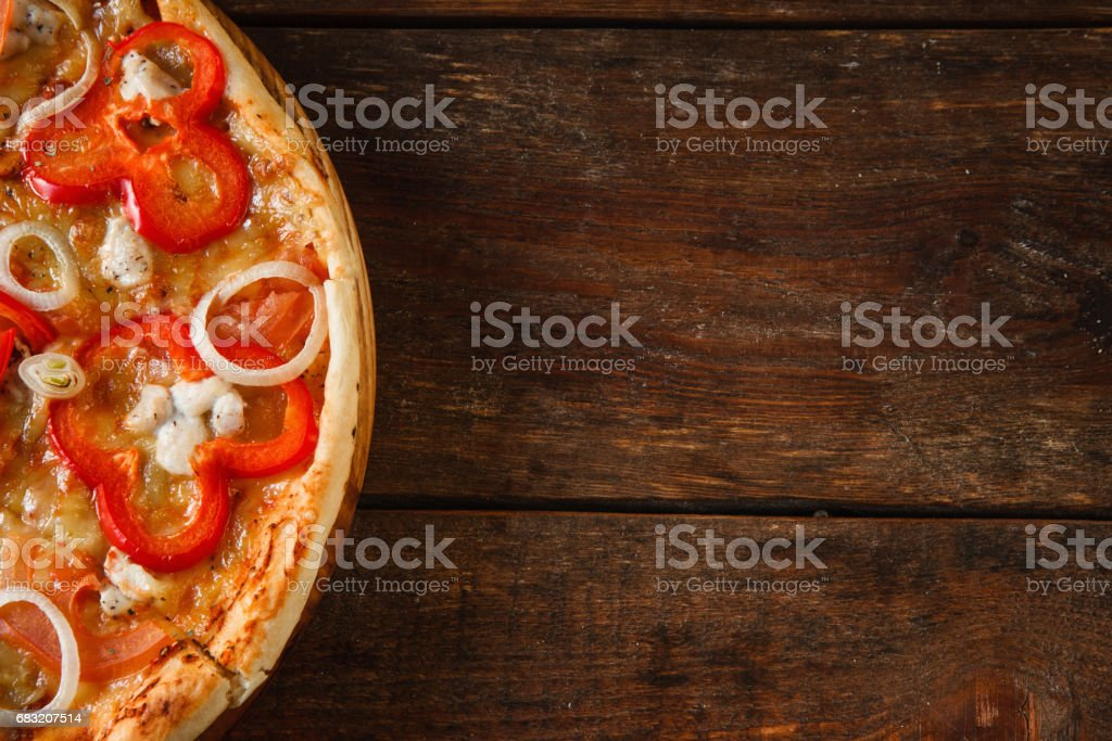 Appetizing pizza, italian food background flat lay royalty-free stock photo