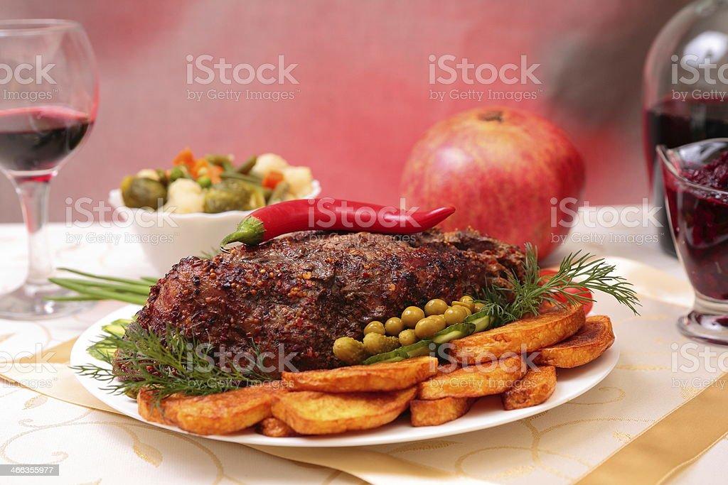 Appetizing roasted fillet of pork royalty-free stock photo