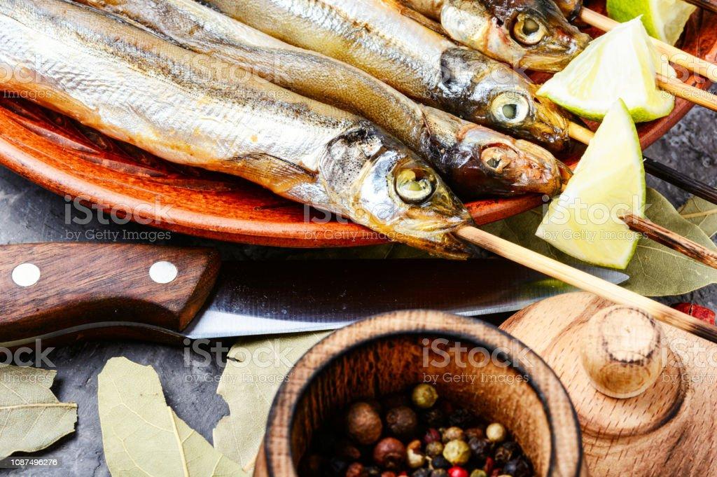 Appetizing smoked fish stock photo