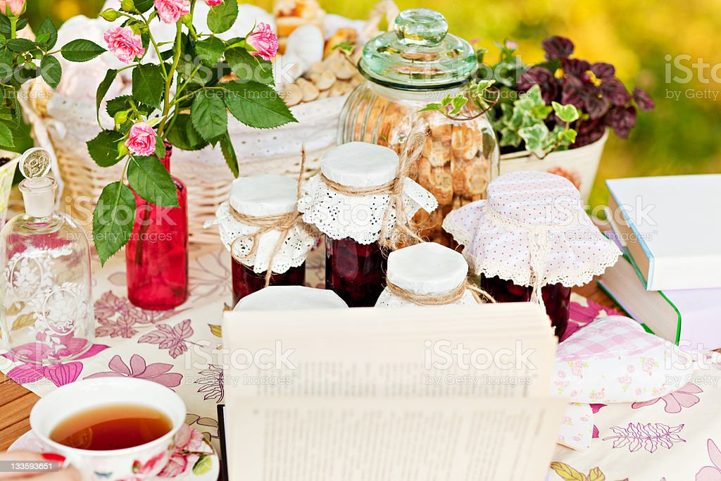 appetizing true, jam, biscuits and tea royalty-free stock photo