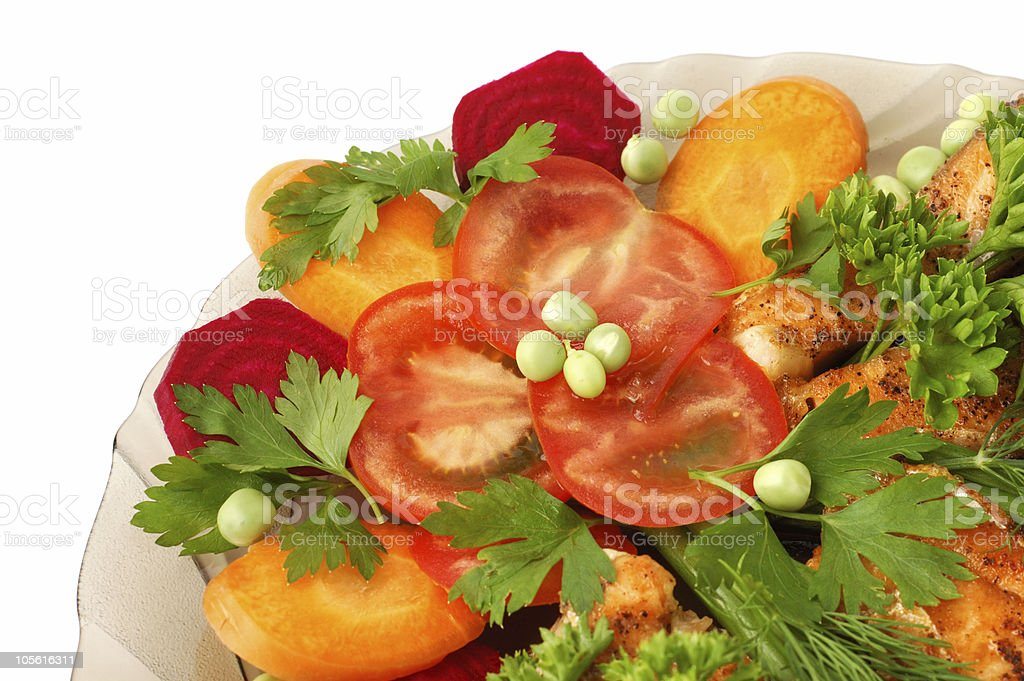 Appetizing vegetables with fried salmon royalty-free stock photo