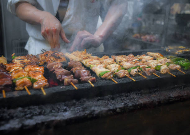 Appetizing Yakitori, Grilled chicken skewers in Tokyo, Japan. stock photo