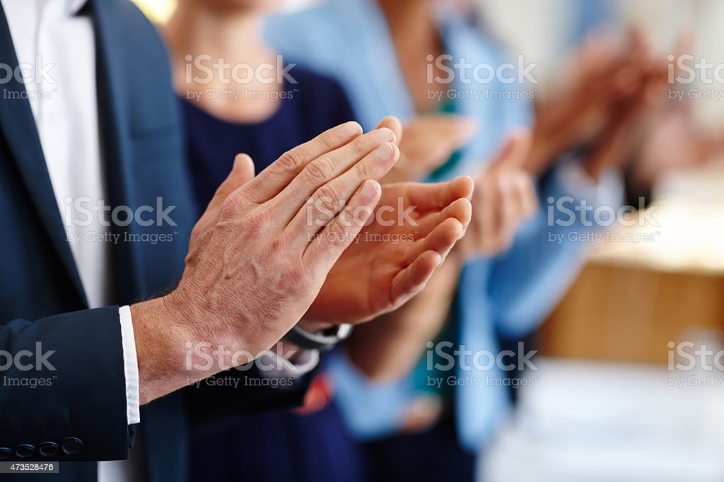 Applauding a great presentation stock photo