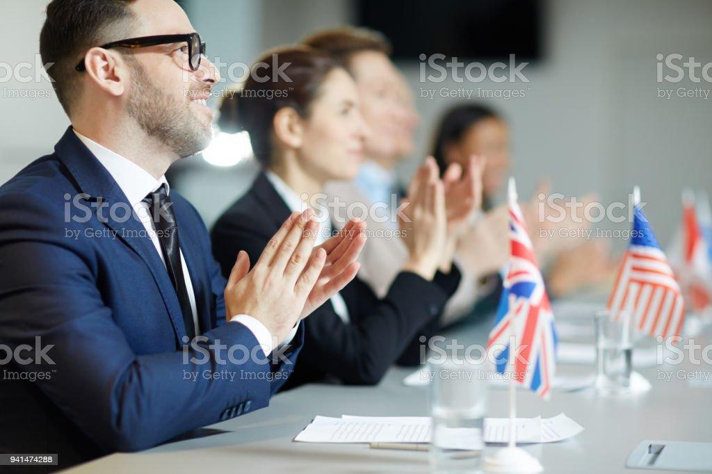 Applauding after speech stock photo