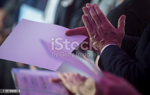 932724052 istock photo Applauding at awards ceremony 1187895874